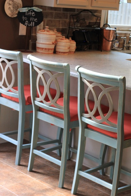 Chalk Painted Barstools and Recovering Cushions