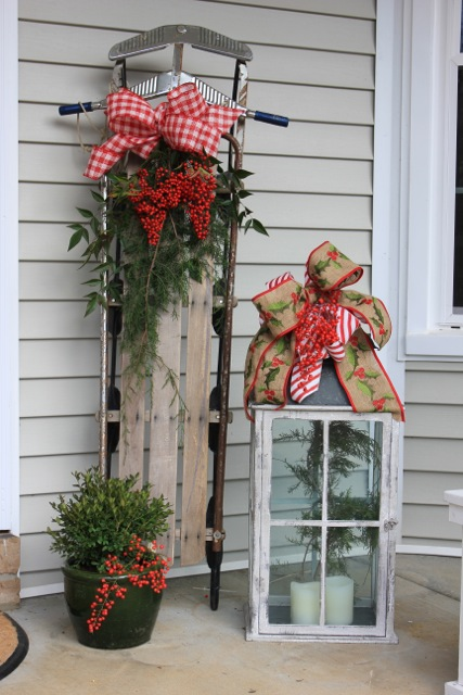 christmas sled decorcaption - Outdoor Porch Christmas Decorations