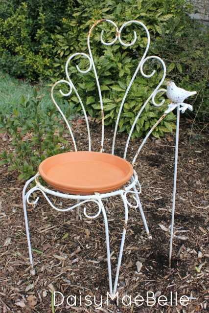 Salvaged Chair Bird Bath @ DaisyMaeBelle