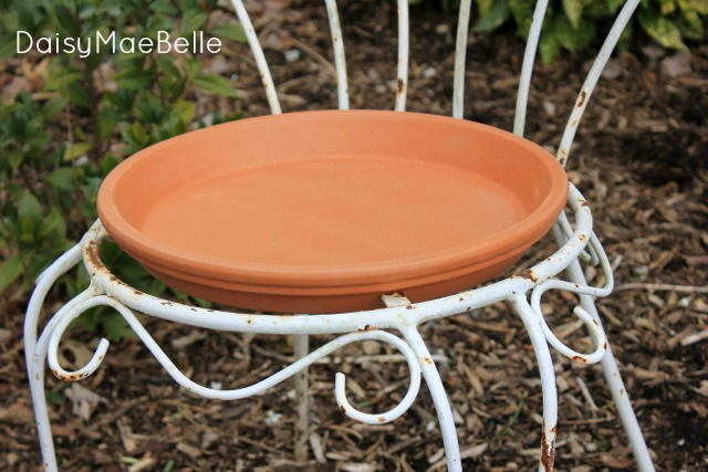 Terra Cotta and Old Chair Bird Bath @ DaisyMaeBelle