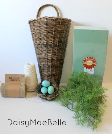 Supplies for Burlap Bow and Basket @ DaisyMaeBelle