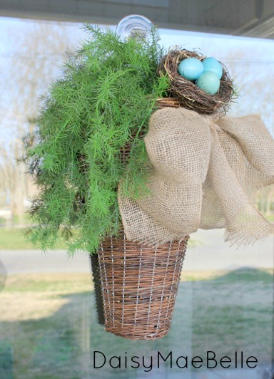 Front Door Basket with Burlap Bow @ DaisyMaeBelle