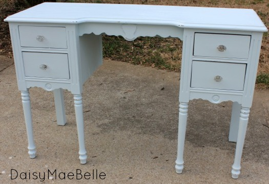 Pale Blue Chalk Painted Desk @ DaisyMaeBelle