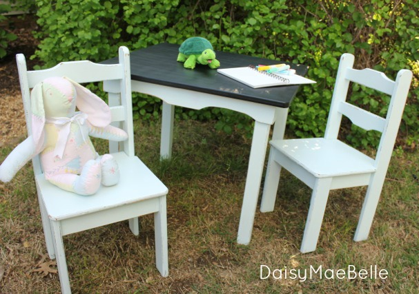 Child's Chalkboard Table and Chairs @ DaisyMaeBelle