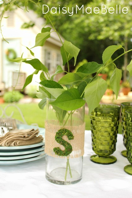 Decorating a Plain Vase with Burlap and Moss @ DaisyMaeBelle