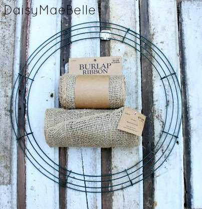 How to Make a Burlap Wreath @ DaisyMaeBelle