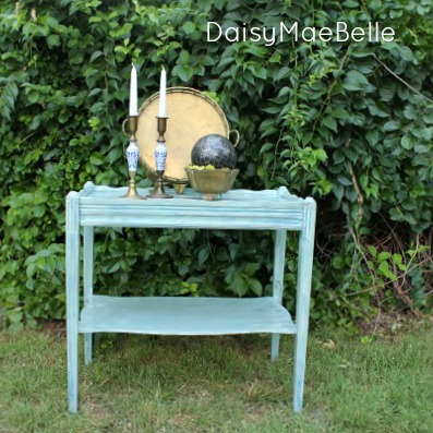 Annie Sloan Duck Egg and Miss Mustard Seed Flow Blue Table @ DaisyMaeBelle