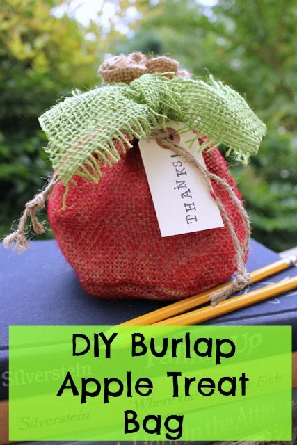 DIY Burlap Apple Treat Bag @ DaisyMaeBelle