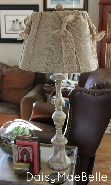 How to Make a Burlap Lampshade @ DaisyMaebelle