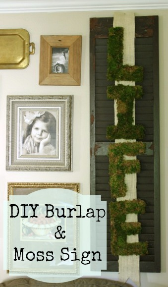 Burlap and Moss Sign @ DaisyMaeBelle