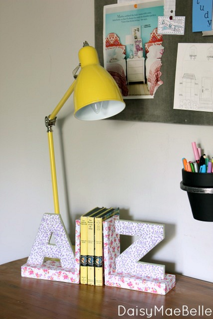 desk lamp and bookends