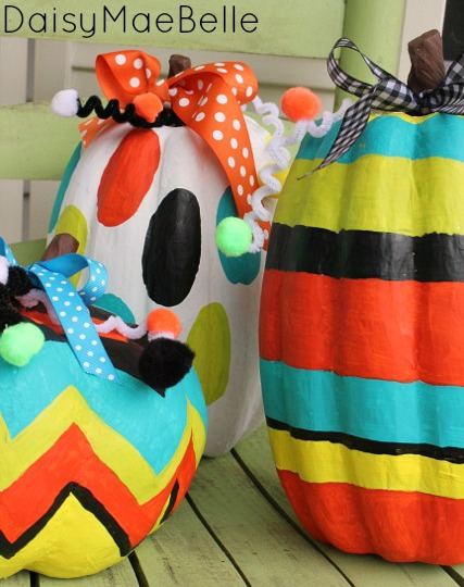 Painted pumpkins daisymaebelle daisymaebelle - Cute pumpkin painting ideas ...
