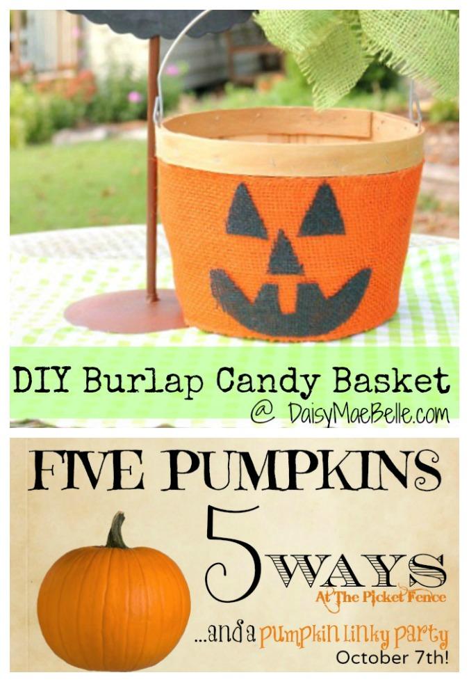 Burlap-Pumpkin-Candy-Basket-and-a-Pumpkin-Party