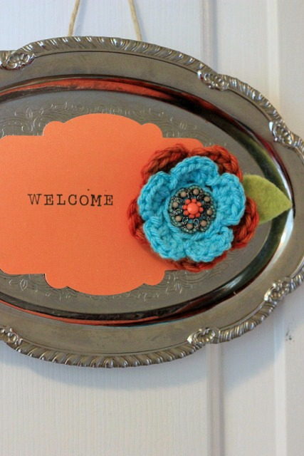 make a magnet board out of a silver platter