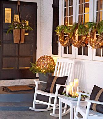 Natural Front Porch Christmas Decorations