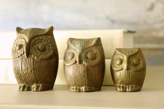 Brass Vintage Owls