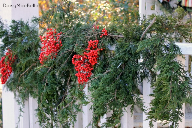 natural christmas decorations daisymaebelle - Christmas Porch Railing Decorations