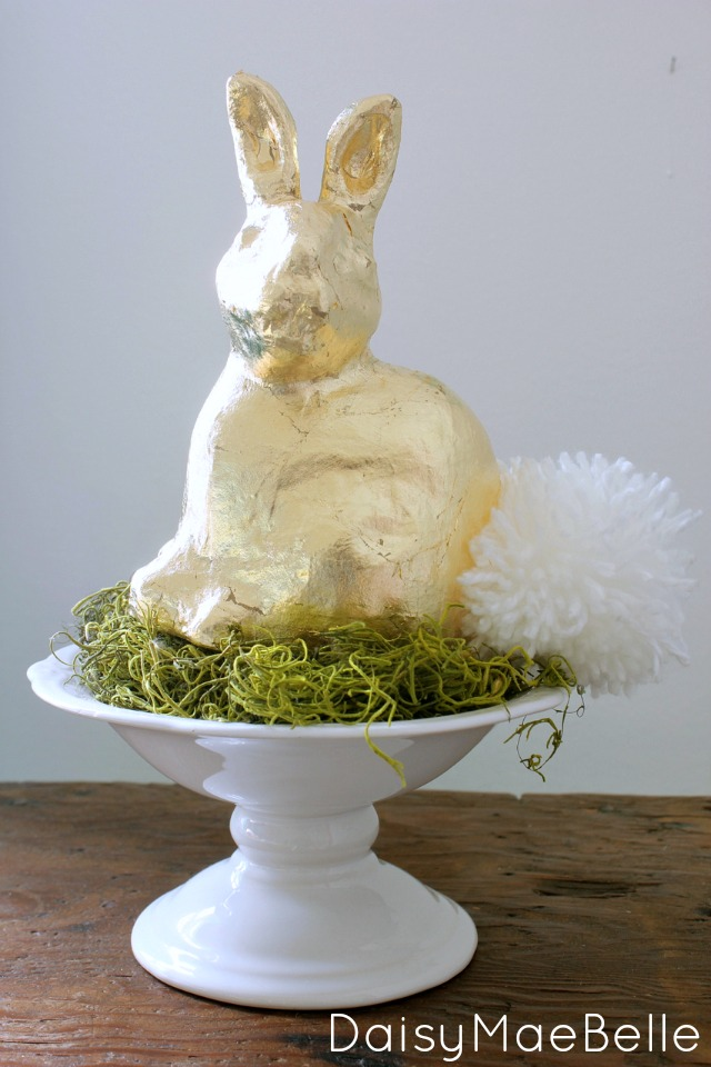 Gold Leaf Bunny with DIY Cotton Tail