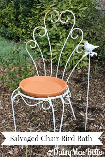 Salvaged Chair Bird Bath