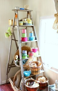 Old Ladders as Shelves