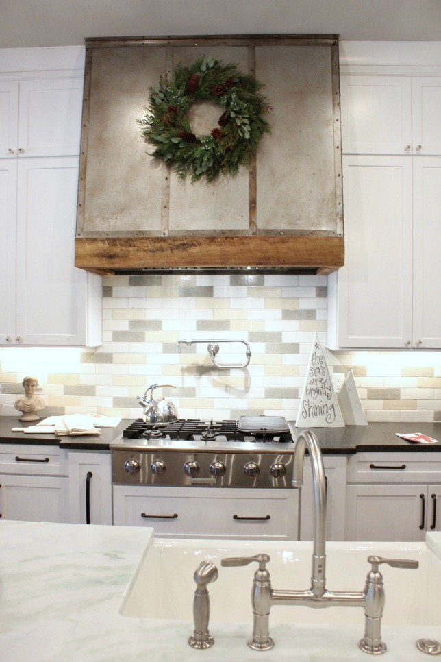 metal and barnwood range hood