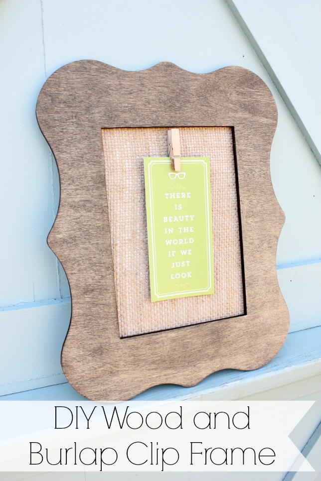 DIY wood and burlap clip frame