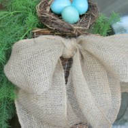 Easy Burlap Bow and Basket