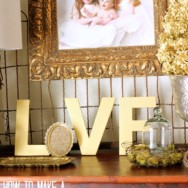 Gold and Burlap LOVE Letters